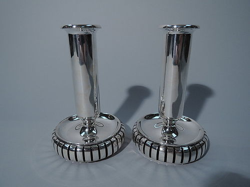 Machine Age Danish Modern Sterling Silver Candlesticks by Cohr