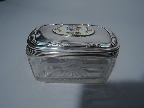 Antique French Silver and Enamel Vanity Box C 1920