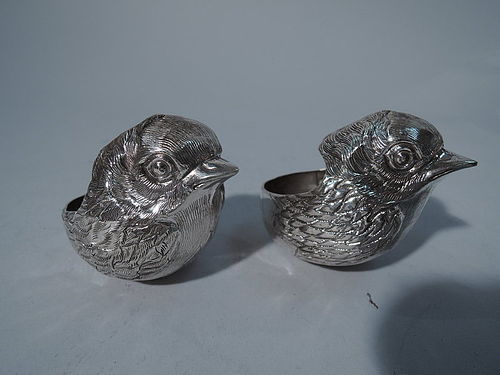 Antique Sterling Silver Open Salts in Form of Sweet Baby Chicks