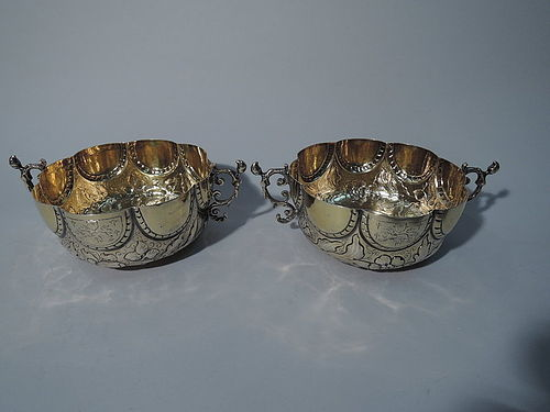 Pair of Antique Silver Gilt Bowls in Late 17th-Century English Style