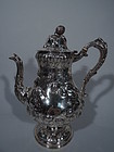 Large American Coin Silver Coffeepot with Wild Strawberries C 1850