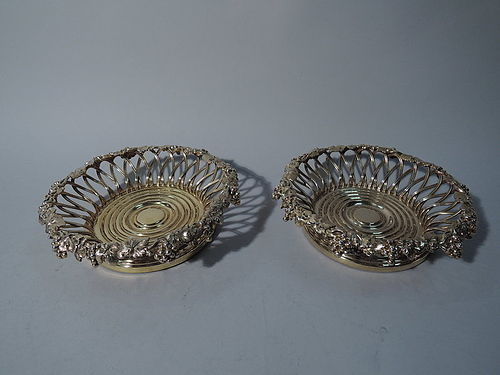 Pair of Sumptuous Silver Gilt Wine Bottle Coasters by Howard