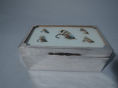 For the Sportsman: English Sterling Silver Box with Fishing Flies 1925
