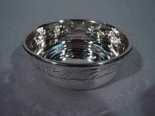 Reed & Barton Sterling Silver Cereal Bowl with Paddling Duckies