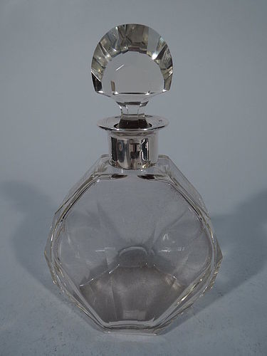 German Art Deco Cut Glass and Silver Decanter