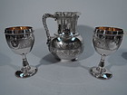 Early Tiffany Sterling Silver Water Pitcher and Goblets