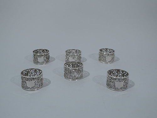Set of 6 Chinese Export Silver Bamboo Napkin Rings