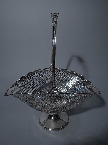 Antique Sterling Silver Pierced Basket C 1920