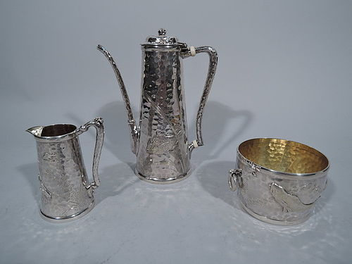 Finest Tiffany Hand Hammered and Applied Silver Coffee Set C 1880