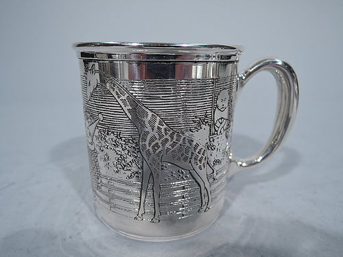Antique Sterling Silver Baby Cup with Circus Animals