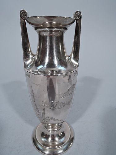 Gorham Japonesque Antique Sterling Silver Amphora Vase