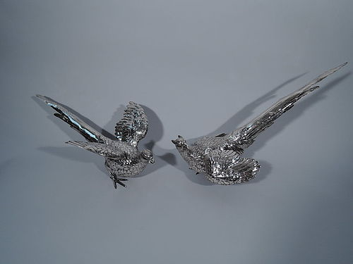 Pair of Dramatic Sterling Silver Pheasants