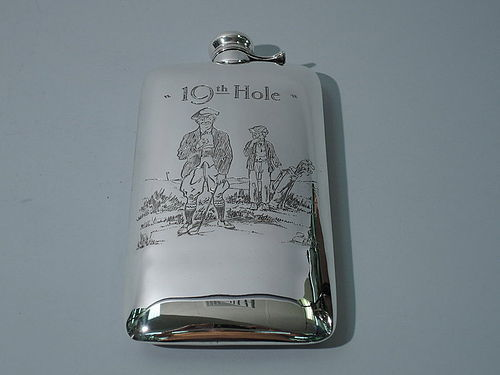 Nostalgic Antique Sterling Silver Golf Flask by Kerr
