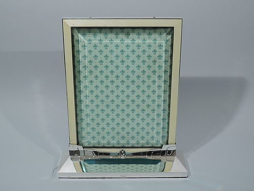 Cartier Art Deco Sterling Silver and Yellow Enamel Picture Frame