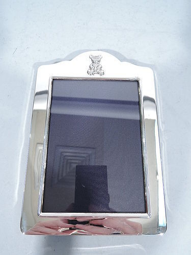 English Sterling Silver Picture Frame with Cuddle Time Teddy Bear