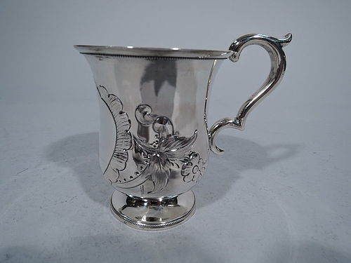 New York Coin Silver Baby Cup by Wood & Hughes C 1860