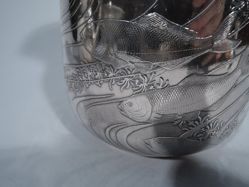 Japonesque Sterling Silver Water Pitcher with Fish by Dominick & Haff