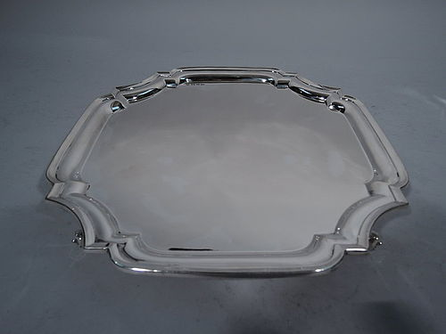 Large English Sterling Silver Cartouche Salver Tray