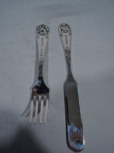 Sweet Sterling Silver Youth Set with Plumb Eating Jack Horner