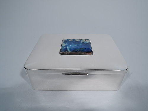 Chic Portuguese Silver and Lapis Lazuli Desk Box