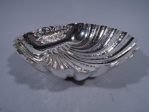 Large Hand Hammered Sterling Silver Scallop Shell Bowl