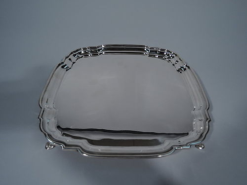 Cartier Sterling Silver Square Salver Tray in Classic Cartouche Form