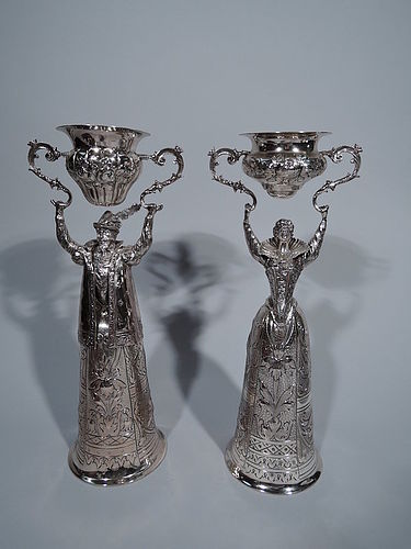 Pair of German Sterling Silver Wedding Cups � Renaissance Man & Woman