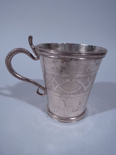 Antique South American Silver Mug with Serpent Handle C 1840