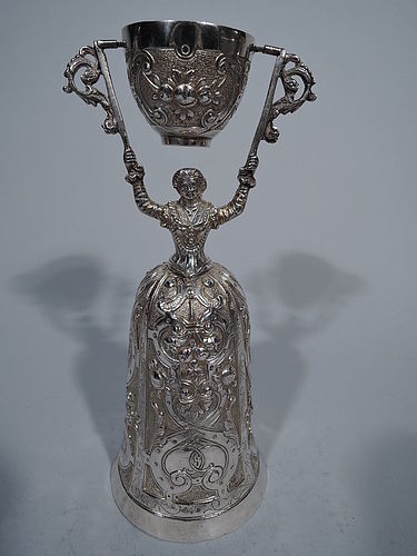 Traditional Sterling Silver Wedding Cup with Regal Lady