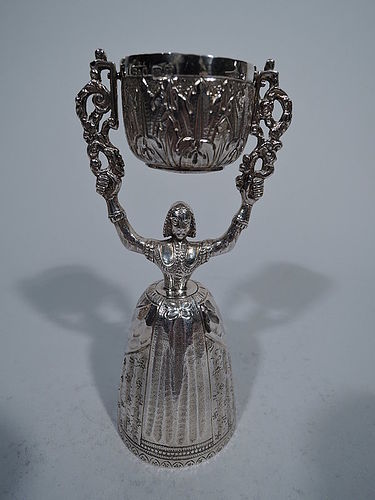 English Sterling Silver Wedding Cup with Medieval Maid