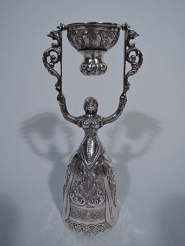 Dutch Silver Wedding Cup with Renaissance Lady