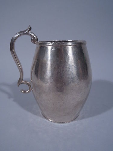 Antique South American Silver Mug with Engraved Name C 1850