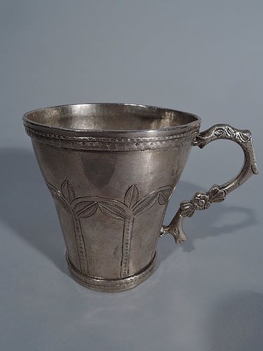 Antique South American Silver Mug with Snake Handle C 1850