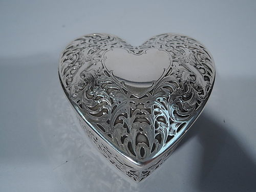 Antique American Sterling Silver Valentine's Day Heart Box