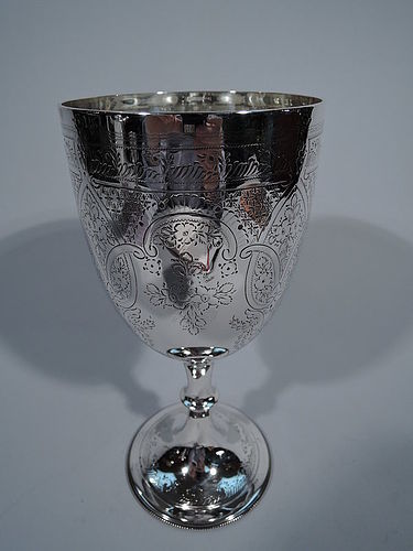 Large English Edwardian Sterling Silver Goblet 1902