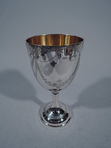 English Edwardian Sterling Silver Goblet with Garlands 1909