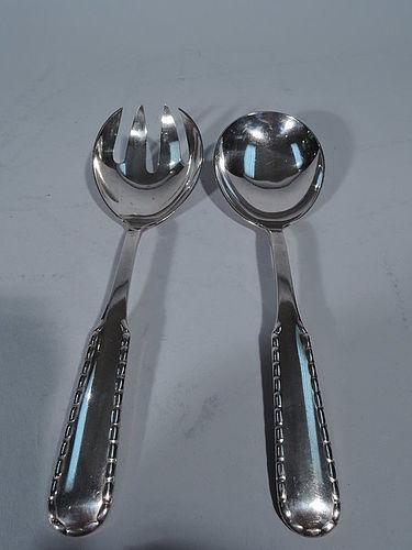 Pair of Georg Jensen Rope Sterling Silver Salad Serving Spoon & Fork
