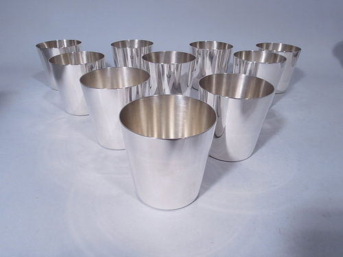 Midcentury Modern Tiffany Barware � Set of 10 Sterling Silver Tumblers