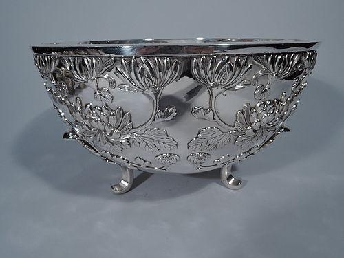 Monumental Japanese Meiji Silver Centerpiece Bowl with Chrysanthemums