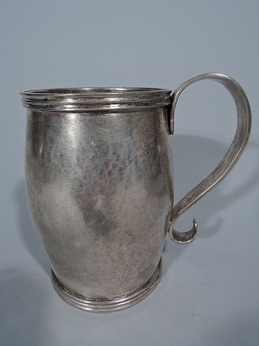Antique South American Large Silver Mug with Scroll Handle C 1850