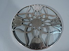 American Art Nouveau Silver Overlay Trivet with Flowers