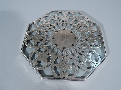 American Art Nouveau Octagonal Silver Overlay Trivet with Flowers