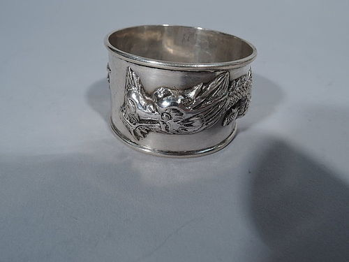 Chinese Silver Napkin Ring with Dragon by Wang Hing