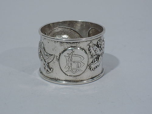 Chinese Silver Napkin Ring with Dragon