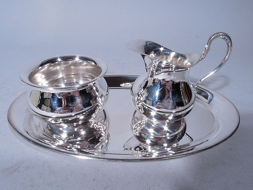 Tiffany Modern Sterling Silver Creamer and Sugar on Tray