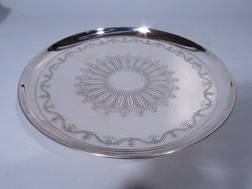 Tiffany Sterling Silver Cake Plate with Flower