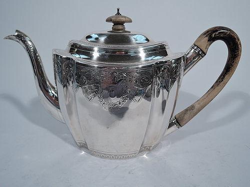 English Georgian Sterling Silver Teapot by Bateman 1799