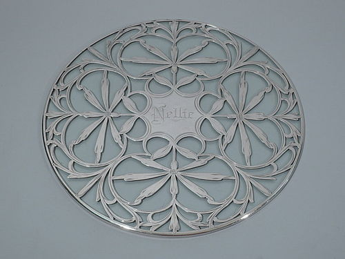 Antique Glass Trivet with Semi-Abstract Floral Silver Overlay