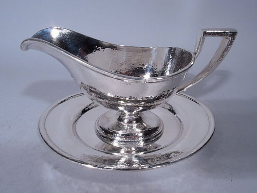 American Craftsman Hand Hammered Sterling Silver Gravy Boat