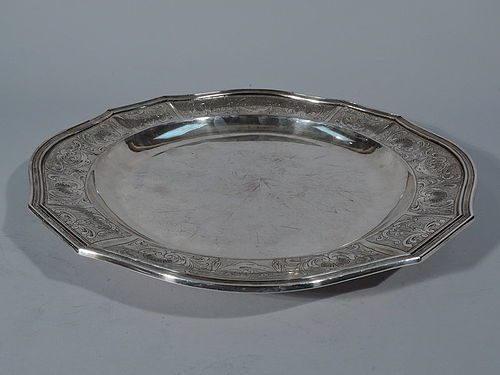 Antique European Neoclassical Silver Charger with Fine Engraving